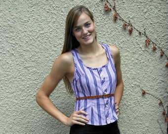 Sample Sale Purple Sriped Tank Sustainably Made Size 6 to 8