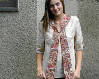 Sand Colored Linen Tunic with Paisley Cotton Trim