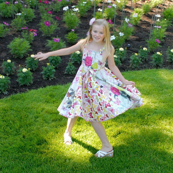 Sample Sale Girls Dress with Flowers and Butterflies size 8