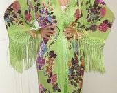 STUNNING silk beaded art deco nouveau GYPSY stevie nicks  burnout velvet fringe kimono coat duster
