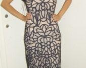 RESERVED FOR gundren vintage art deco nouveau sheer lacey crochet web 80s Maxi dress