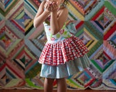 Boutique Easter, Spring Dress, Size NB - 9m, Fancy Colorful Whimsical Ruffled Tiers with Gigantic Sash and Bow