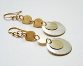 14K Gold filled and silver disc earrings