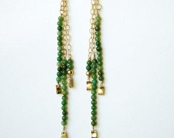 Gold chain earrings