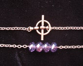 Purple Glass Bead Necklace, Purple and Bronze Necklace with a toggle clasp, Amethyst colored faceted beads