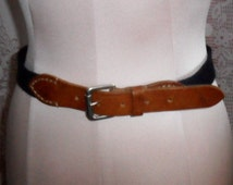 Vintage Ralph Lauren Belt Made in Italy Navy Blue and Tan Leather