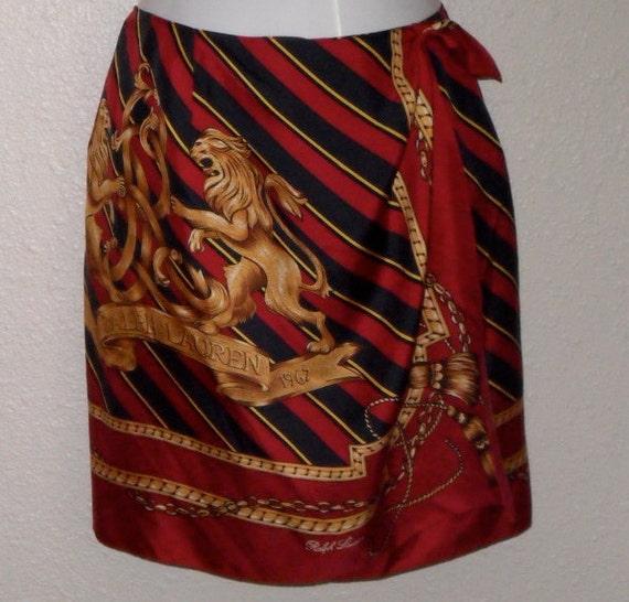 Ralph Lauren Skirt  Silk Scarf Wrap Vintage Navy Gold Red