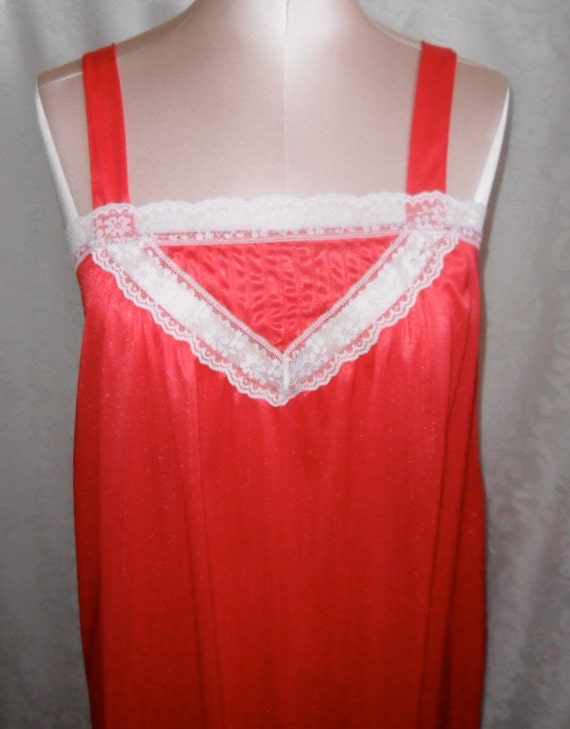 Vintage Nightgown Red Negligee Size 9 JC Penney Enkalure Nylon