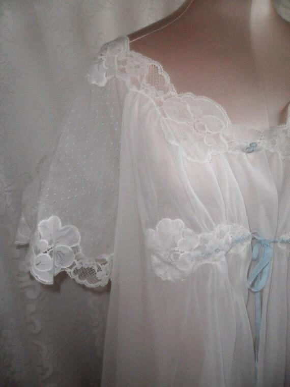Vintage Sheer Robe Dressing Gown White Chiffon by Kayser Wedding