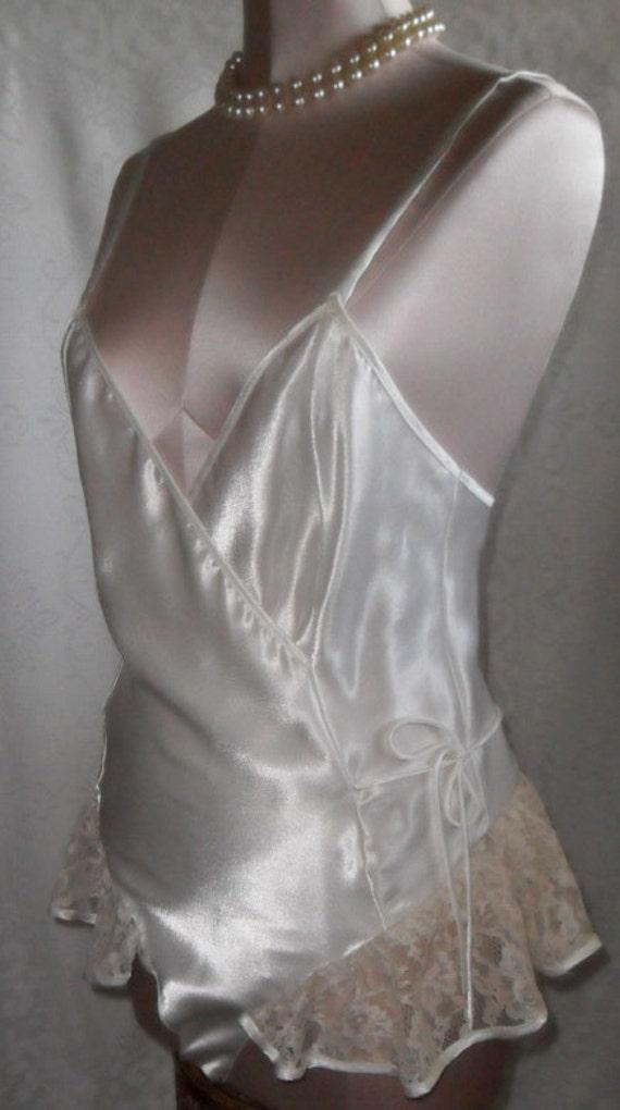 Vintage Teddy Satin and Lace Bridal Victoria's Secret Romper Teddie Wedding
