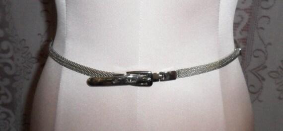 Vintage Mesh Belt Skinny Metal Silver-Toned