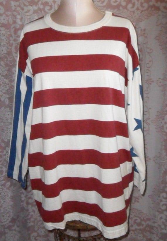 Vintage Shirt by Express Tricot Striped Patriotic Flag Size Medium