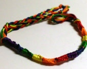 LGBT Rainbow Gay Lesbian Pride Friendship Bracelet French Twist Chinese Staircase