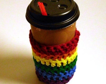 Gay Pride Rainbow Coffee Cup Cozy 20 oz or 16 oz LGBT Gift