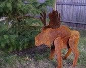 small sculptured metal garden moose