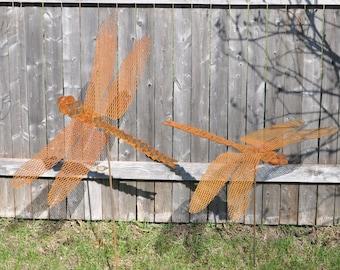 Dragonfly Yard Art, Garden Sculptures,  dragon fly Yard Art, Metal  Dragonfly, rusted metal dragonfly stake, dragonfly yard and garden stake