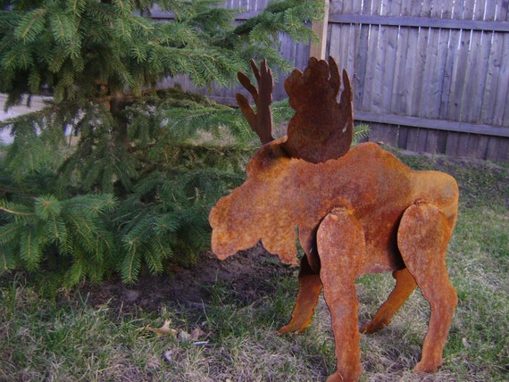 small sculptured metal garden moose