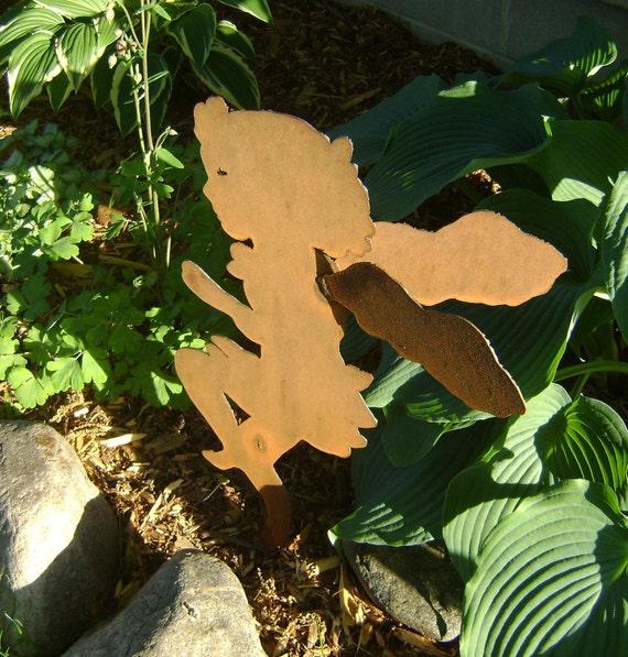 Fairy, Garden Fairy, Sculptured Metal Garden Fairy, Metal Yard Art, Middle Sister Garden Fairy, Fairies, Little girl, dancing girl