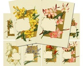 Spring Placecards Collage Download: print your own, stickers, jewelry, ATC, journaling, cards, gift tags