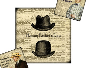 Happy Father's Day Digital Collage Download: 2-in x 2-in (2x2) sized images, stickers, jewelry charms, steampunk, cards, Dad, card making