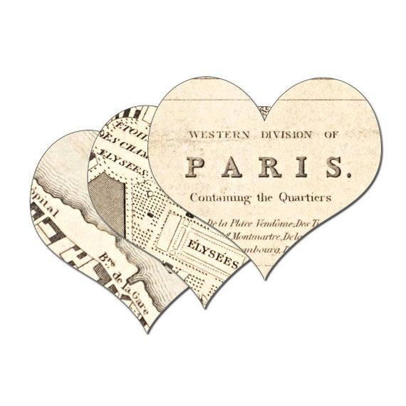 Paris Map Hearts Digital Download: -  Collage Sheet