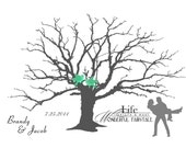 Wedding Guest Book Tree Alternative, Silhouette Fingerprint or Thumbprint Tree with Couple