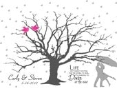 Wedding Thumbprint Guest Book Alternative, Rain Showers Dancing Silhouette Fingerprint Tree with Couple, Umbrella, Finger print Guestbook