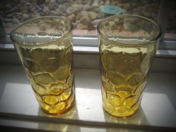 "Vintage Art Deco ""Honeycomb"" Drinking Glasses, set of 2"