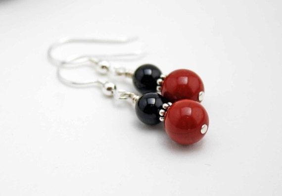 Red Jasper Earrings Black Onyx & Sterling Silver