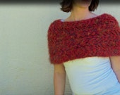 """Red Knitted Capelet - 38"""" to 42"""" Bust"""