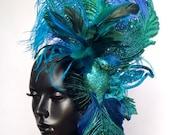 Glitter Peacock Head Piece