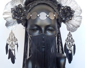 MADE TO ORDER Silver & Black Fungus Headdress
