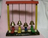 Vintage Playskool Toy Bells Circa 1960s Wood with Metal Bells Musical Fun
