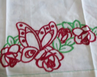Butterfly Table Runner Hand Embroidered Dresser Scarf Red Butterfly