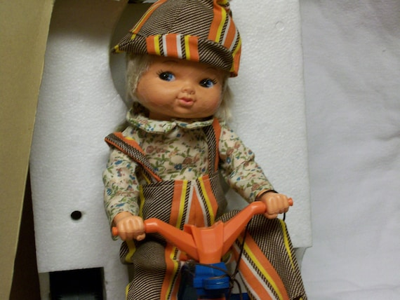 Vintage Doll on a BICYCLE LIL PLAYMATES Rides on Trike, In Orig Box On Sale and Drastically Reduced Please Look at Me I'm Cute