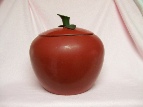 Vintage Cookie Jar Or Cannister Red Apple Metal Decoware Retro