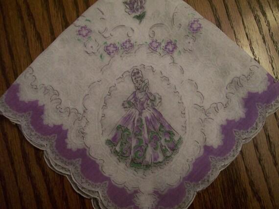 Vintage Ladies Handkerchief Hankie Elegant Victorian Lady in Lavender