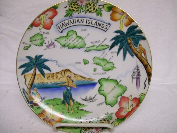 Res for Linda  Vintage Hawaii Plate Souvenir of Hawaiian Islands