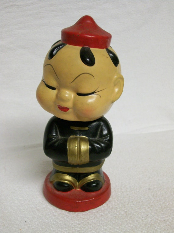 Res for Robyn Vintage Bobblehead Oriental Asian inspired Bobblehead Paper Mache
