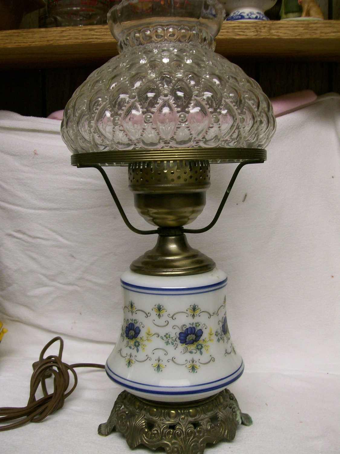 1973 Quoizel Hurricane Lamp Vintage Abigail Adams Inspired