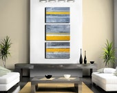 Abstract Art Abstract Painting Yellow Grey Yellow Gray Art - Triptych - Shipping inculded within Continental US - Original Abstract Painting
