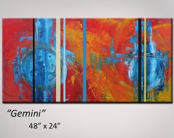 Abstract Art Abstract Painting Red Orange Yellow Blue - 48x24