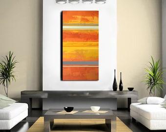 Abstract Art - Orange Art Abstract Painting Stripes- Large 48 x 24 - Original Art Gray Stripes - Minimalist
