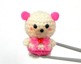 Amigurumi Neon pink pom pom ears BBQ MochiQtie - Mochi size crocheted amigurumi mini toy  doll