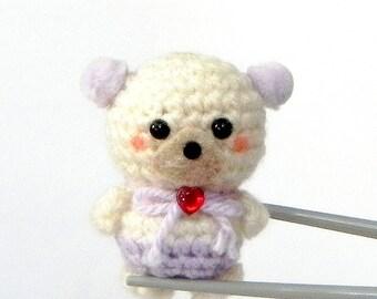 Amigurumi - Lilac lavender pom pom ears BBQ MochiQtie - Mochi size crocheted amigurumi mini toy  doll