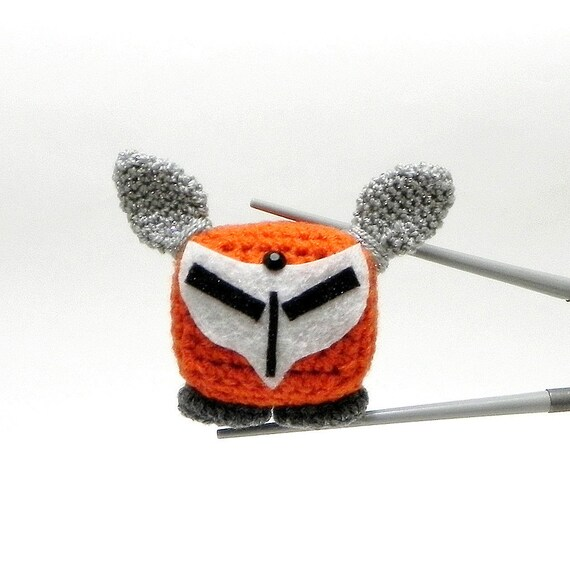 Amigurumi MochiQtie - Cyber fox MochiQtie - Mochi size crochet  toy / doll