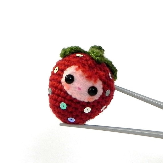 Strawberry Baby MochiQtie - Crochet Amigurumi mochi size mini toy doll