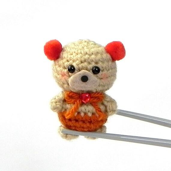 Amigurumi - Amber pom pom ears BBQ MochiQtie - Crochet Amigurumi mini size stuff  toy  doll