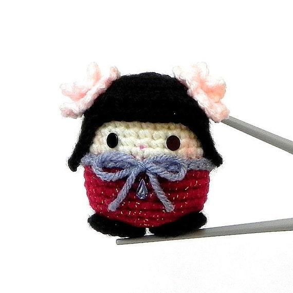 Amigurumi kokeshi mochi size doll - Hana MochiQtie - Crochet Amigurumi girl toy