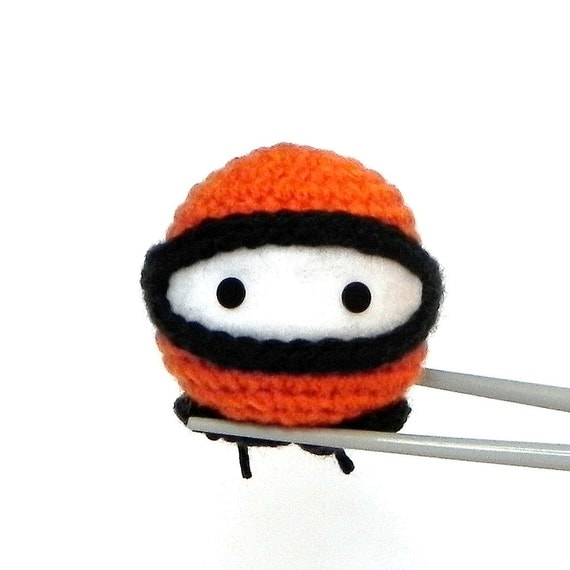 ORANGE Ninja MochiQtie - Crochet amigurumi mochi size toy doll